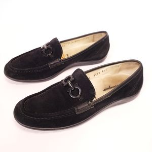 Salvatore Ferragamo Black Suede Driving Shoe